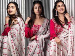 Nivetha pethuraj in a poornimans pre draped saree featured