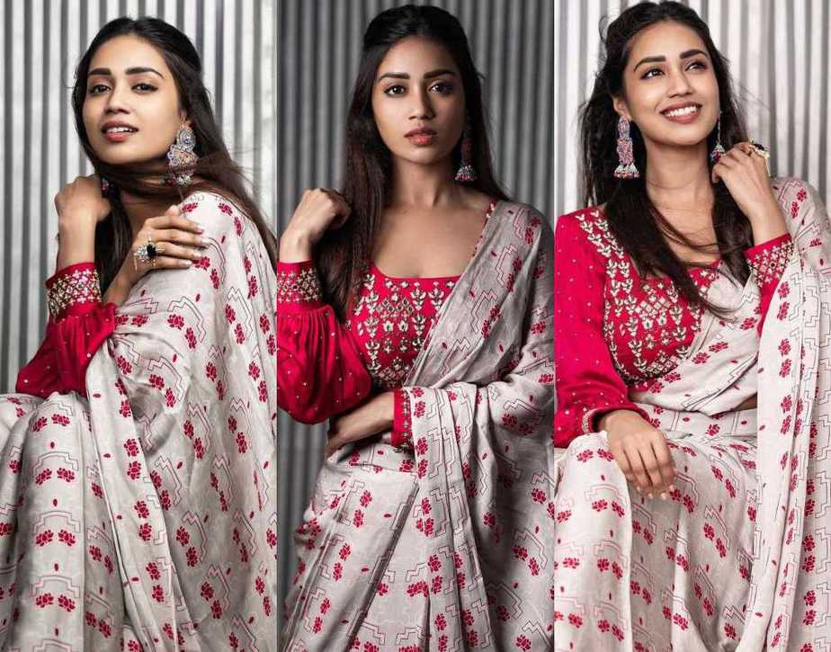 Nivetha pethuraj in a poornimans pre draped saree featured