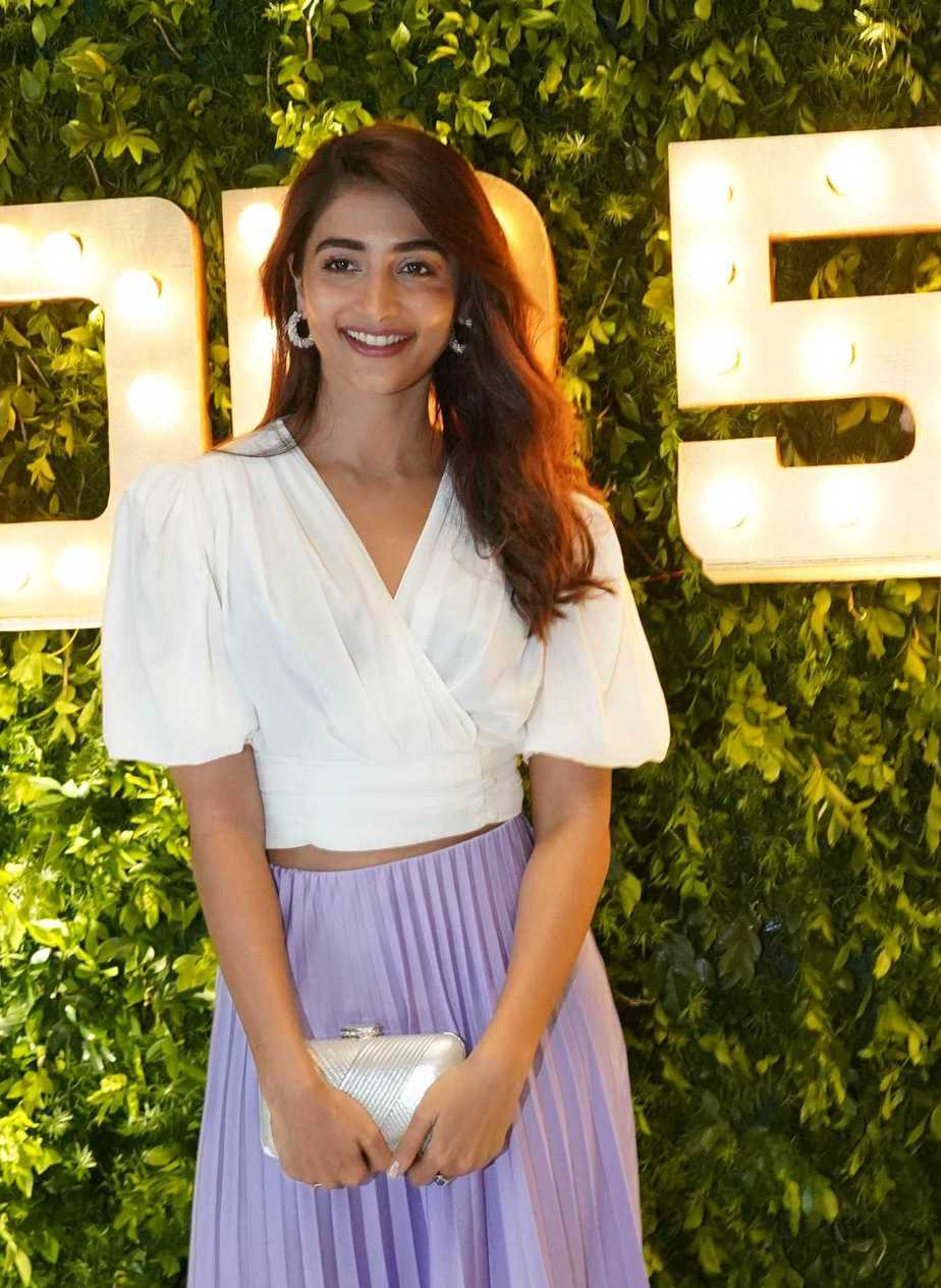 Pooja hegde in zara top-skirt for dil raju's bday bash