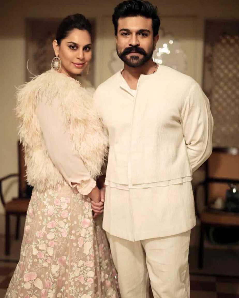 Ram charan and Upasana Konidela in off white outfits for NishChay mehndi (3)