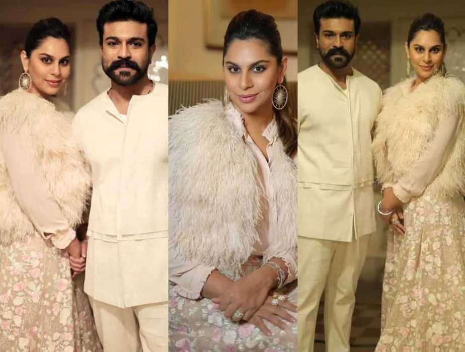 Ram charan and Upasana Konidela in off white outfits for NishChay mehndi1