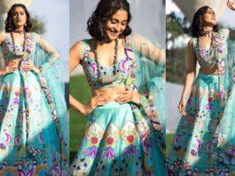Regina Cassandra in a blue lehenga by Aisha Rao