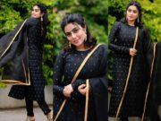 Shamna kasim in a black stylediva label kurta set