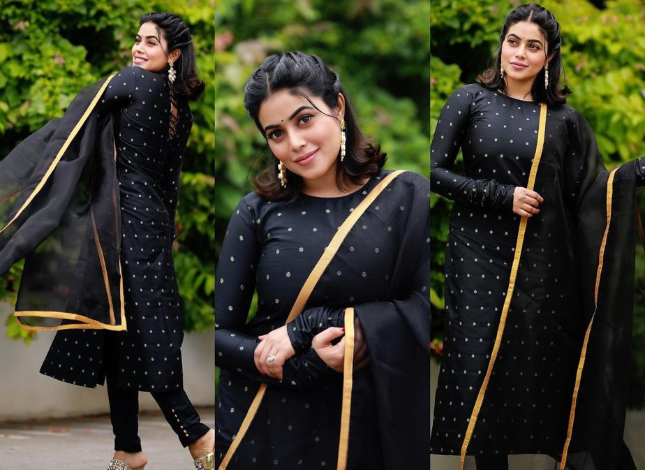 Shamna kasim in a black stylediva label kurta set