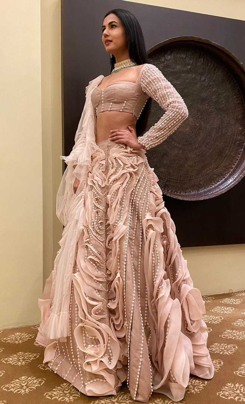 Sonal chauhan in blush pink lehenga by pink peacock couture
