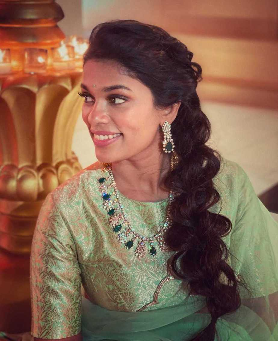 Sreeja kalyan in mint green lehenga set for Nischay wedding 1