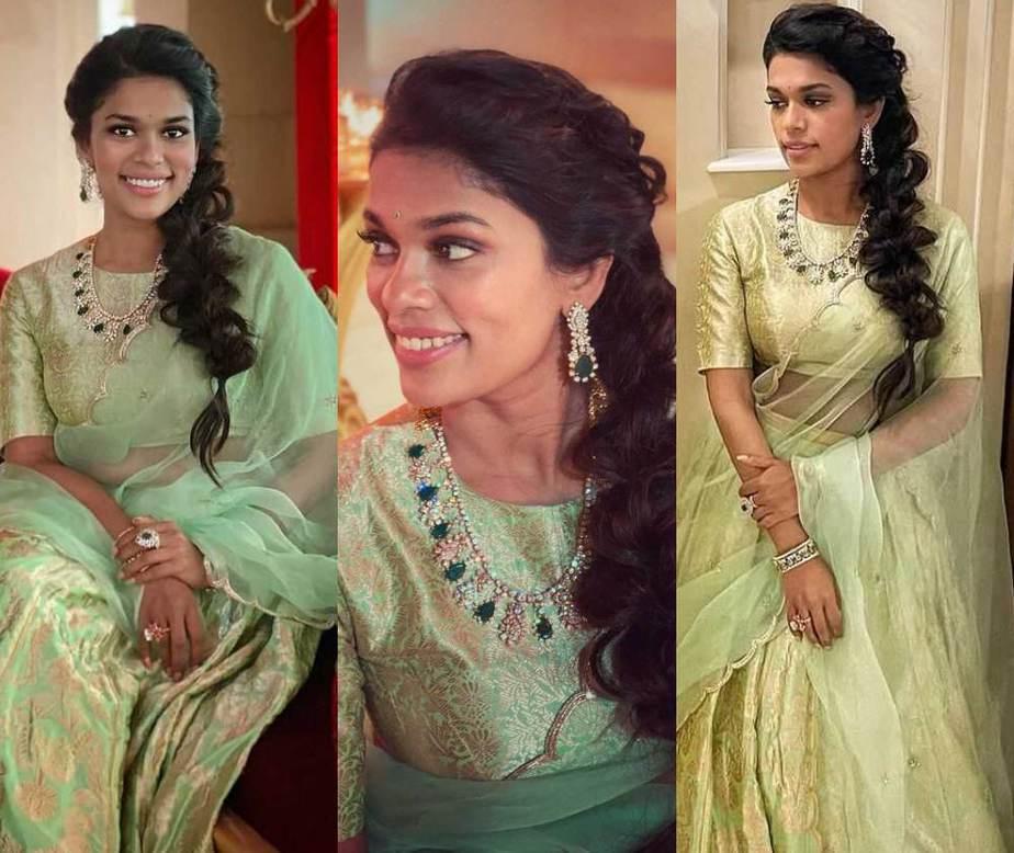 Sreeja kalyan in mint green lehenga set for Nischay wedding featured