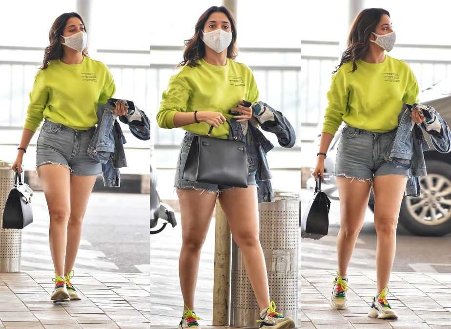 Tamannaah Bhatia in airport wearing casual outfit