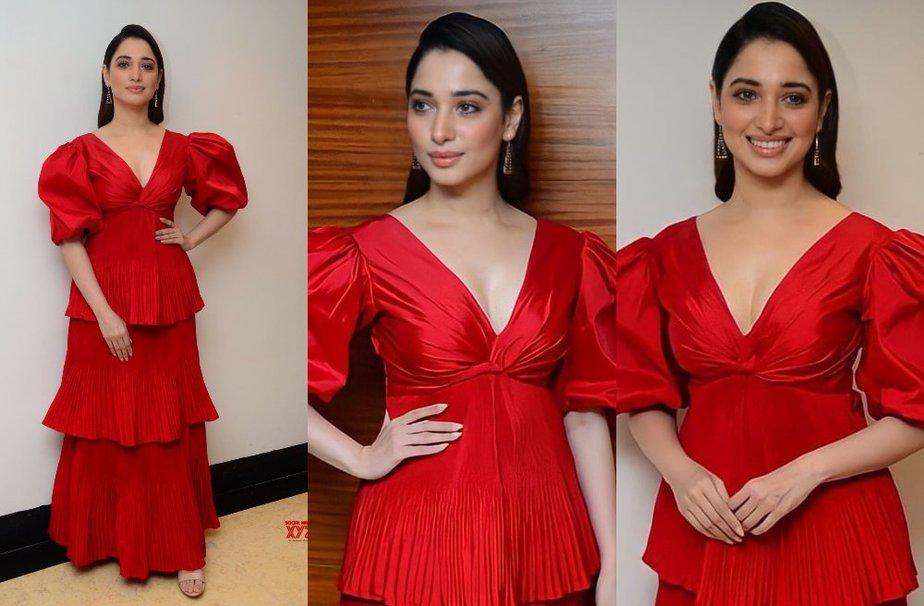 Tamannaah Bhatia in red dress for press meet of her telugu movie