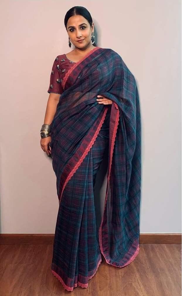 Vidya balan in a priyadarshini rao saree for a virtual event