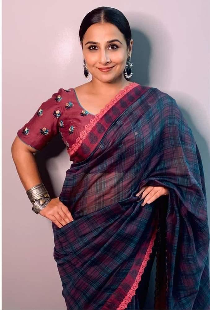 Vidya balan in a priyadarshini rao saree for a virtual event1.1