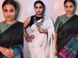 Vidya balan in a white saree by shraddha agarwal and green saree by ingiri