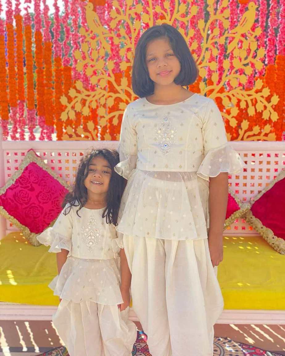 allu arha and anvitha at niharika haldi in white