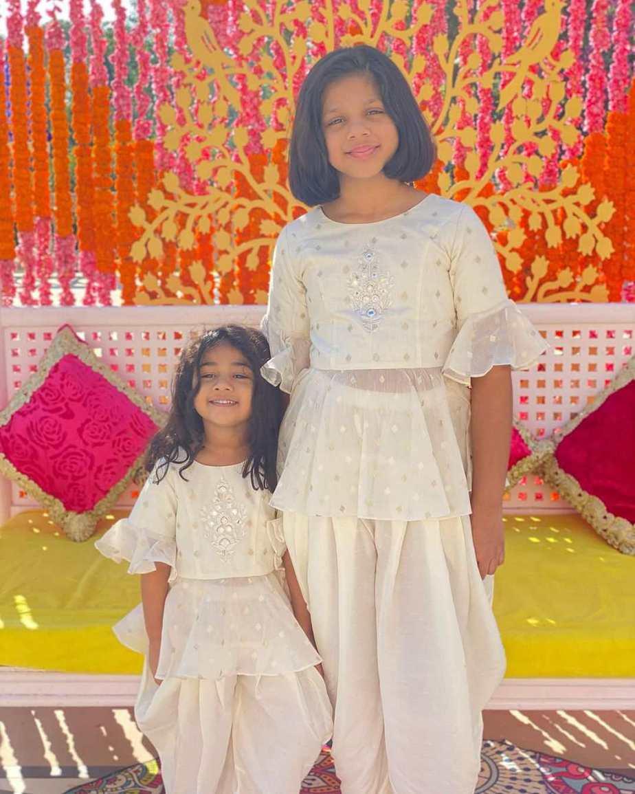 allu arha and anvitha in white at niharika haldi