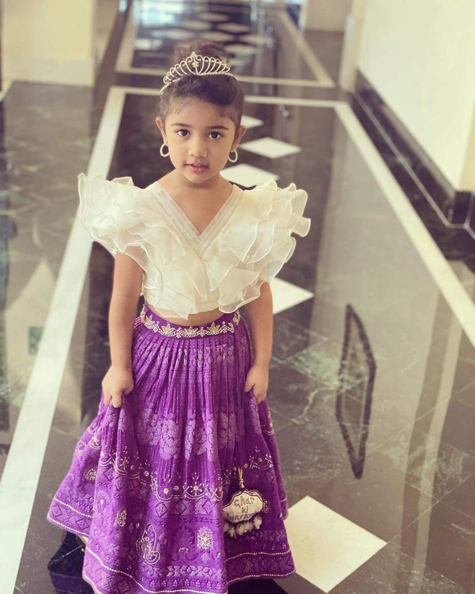 allu arha in purple skirt white top for niharika wedding