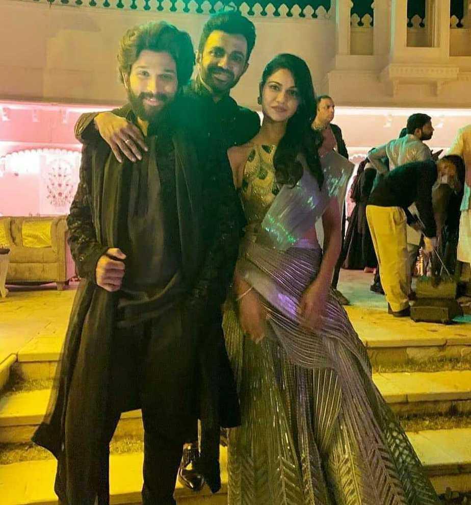 allu arjun and wife sneha reddy at niharika sangeet function