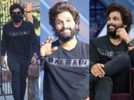 allu arjun in blamian black tshirt for samjam show (2)
