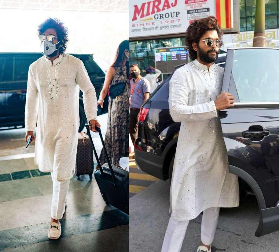 allu arjun in white kurta pyjama at udaipur airport (1)