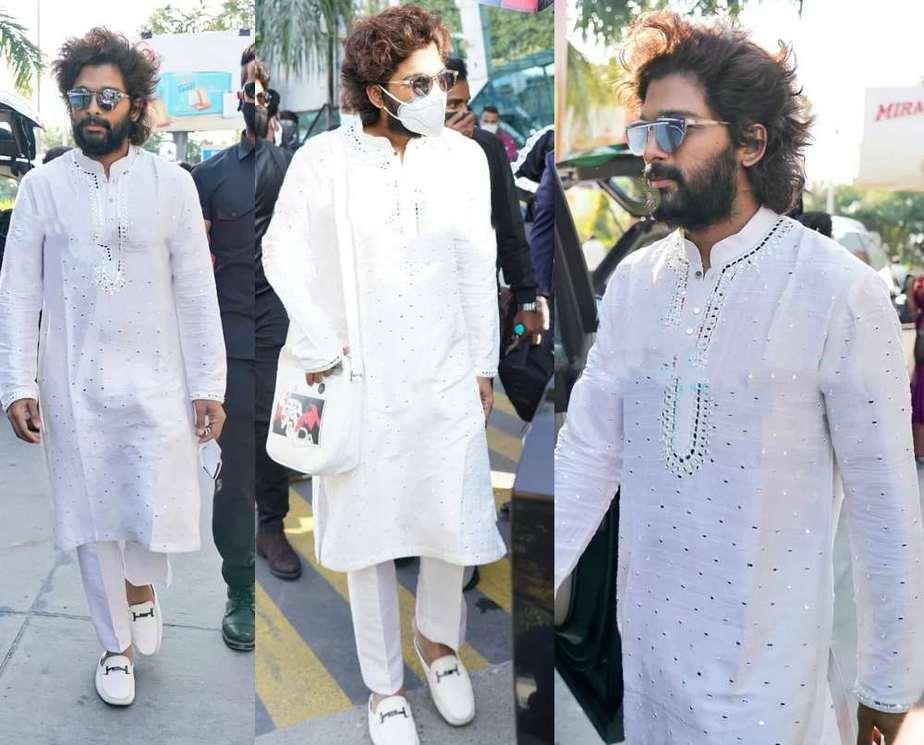 allu arjun in white kurta pyjama at udaipur airport