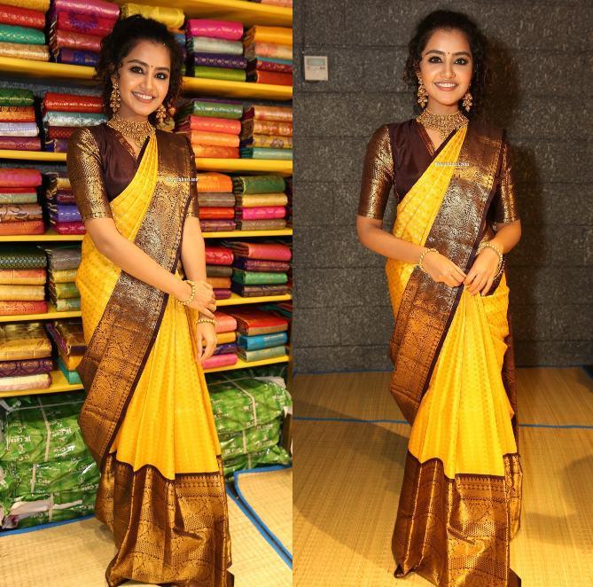 anupama parameswaran yellow pattu saree mugdha (1)