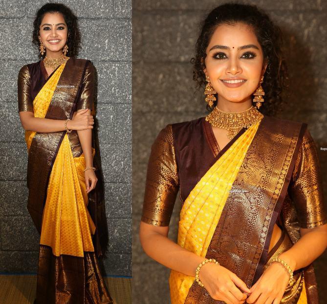anupama parameswaran yellow pattu saree mugdha
