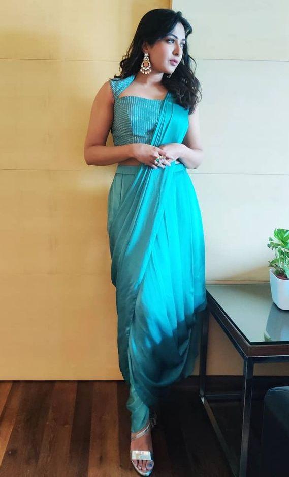 catherine tresa blue dhoti saree with back work blouse