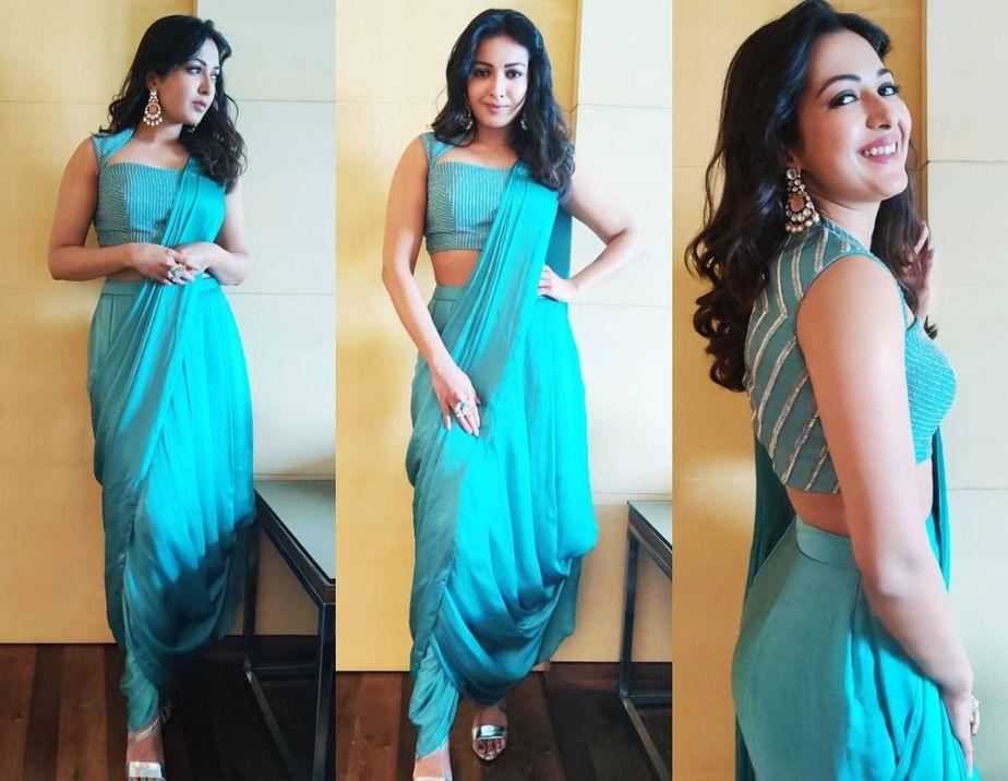 catherine tresa in blue dhoti saree
