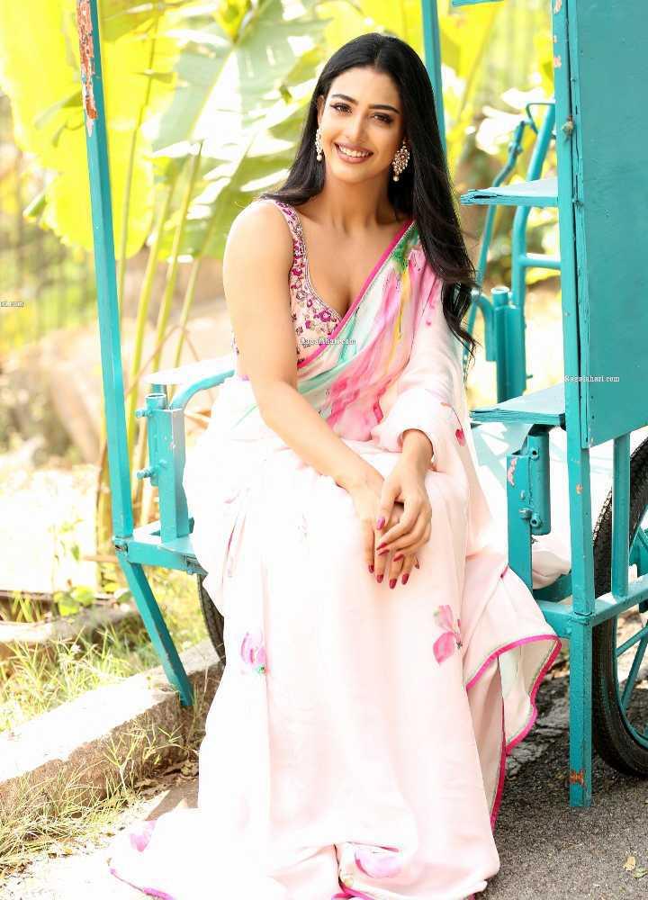 daksha nagarkar pink saree for zombie reddy teaser launch2