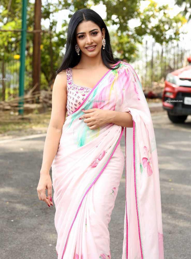 daksha nagarkar pink saree for zombie reddy teaser launch3
