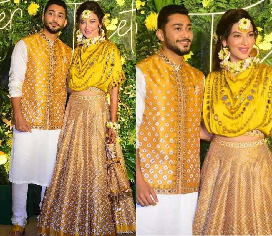 Gauahar khan in ywllo skirt dress from label rajdeep ranawat