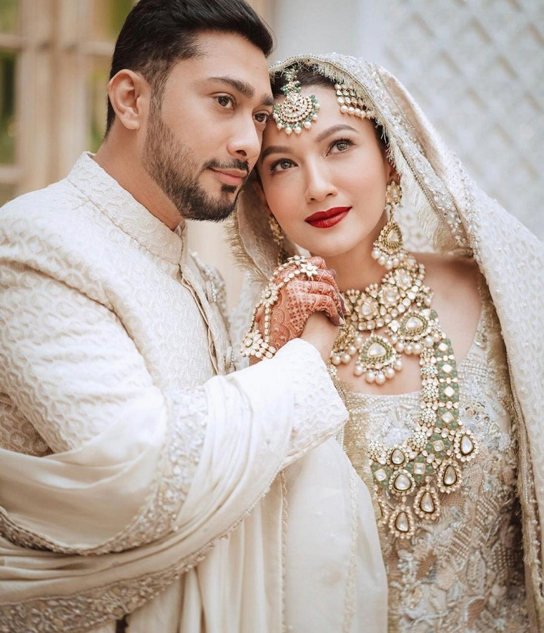 gauahar khan in all-white assemble from laam on her wedding