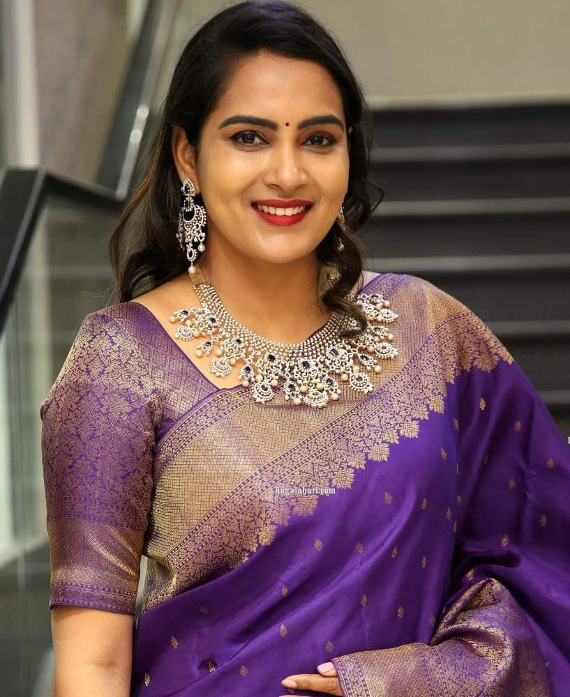 himaja in purple saree at malabar gold and diamonds event