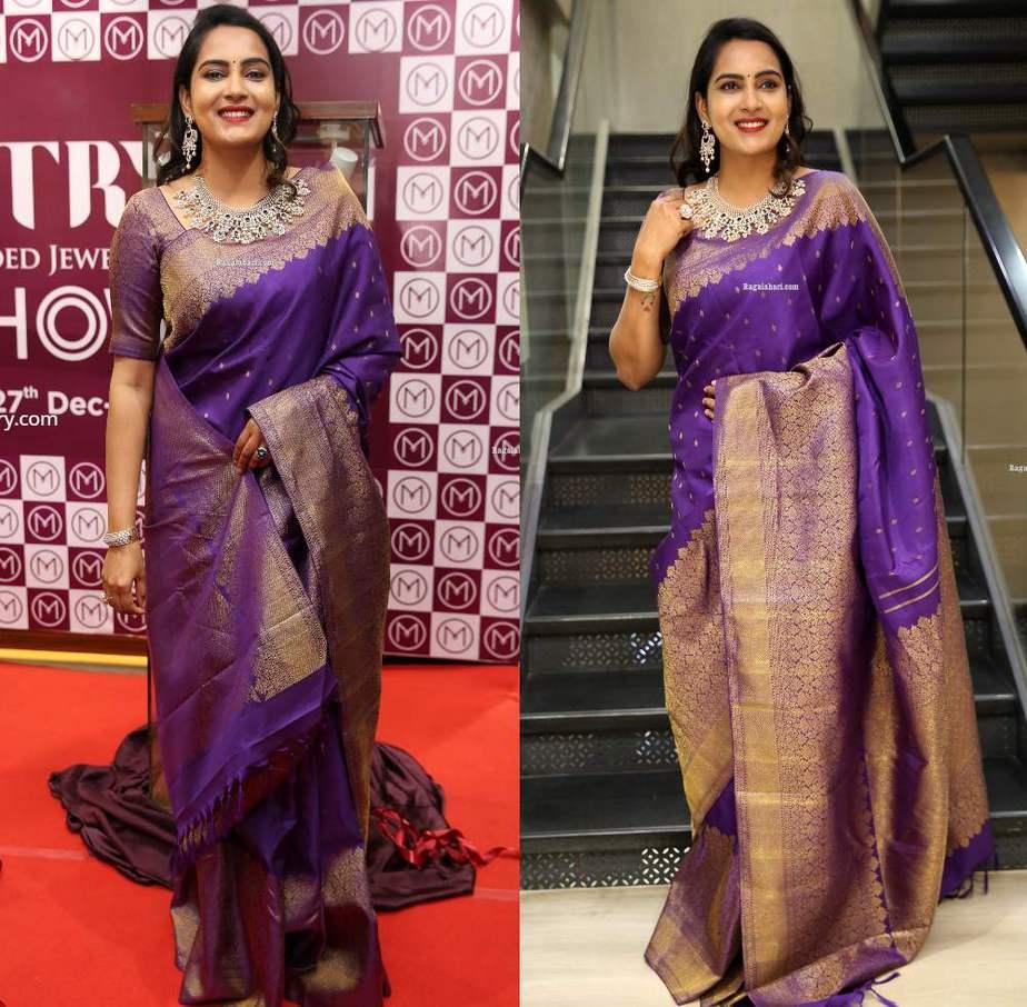 himaja in purple saree at malabr gold and diamonds event (1)