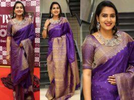 himaja in purple saree at malabr gold and diamonds event