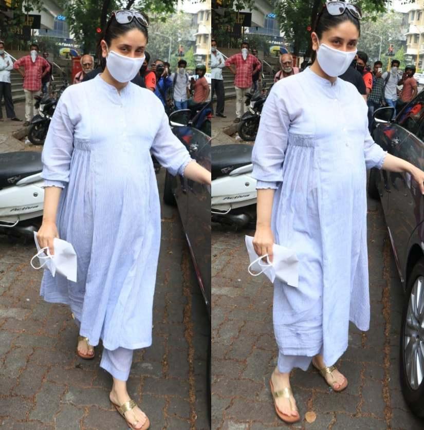kareena kapoor pregnancy fashion blue kurta set