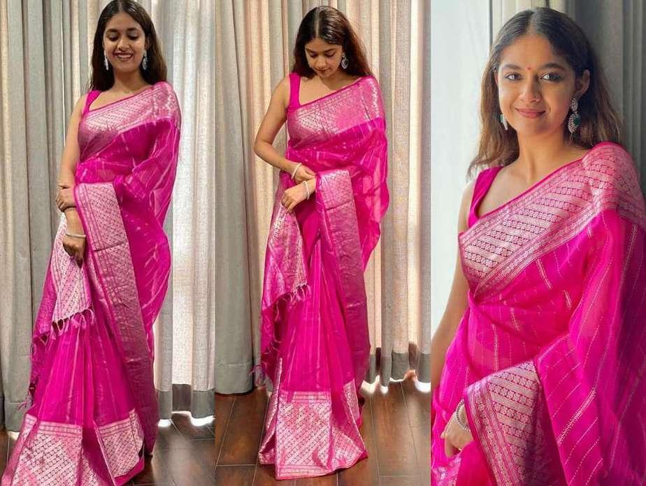 keerthy suresh in pink silk saree at friends wedding