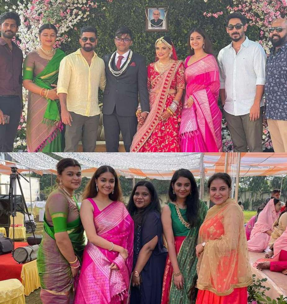 keerthy suresh in pink silk saree attending friends wedding