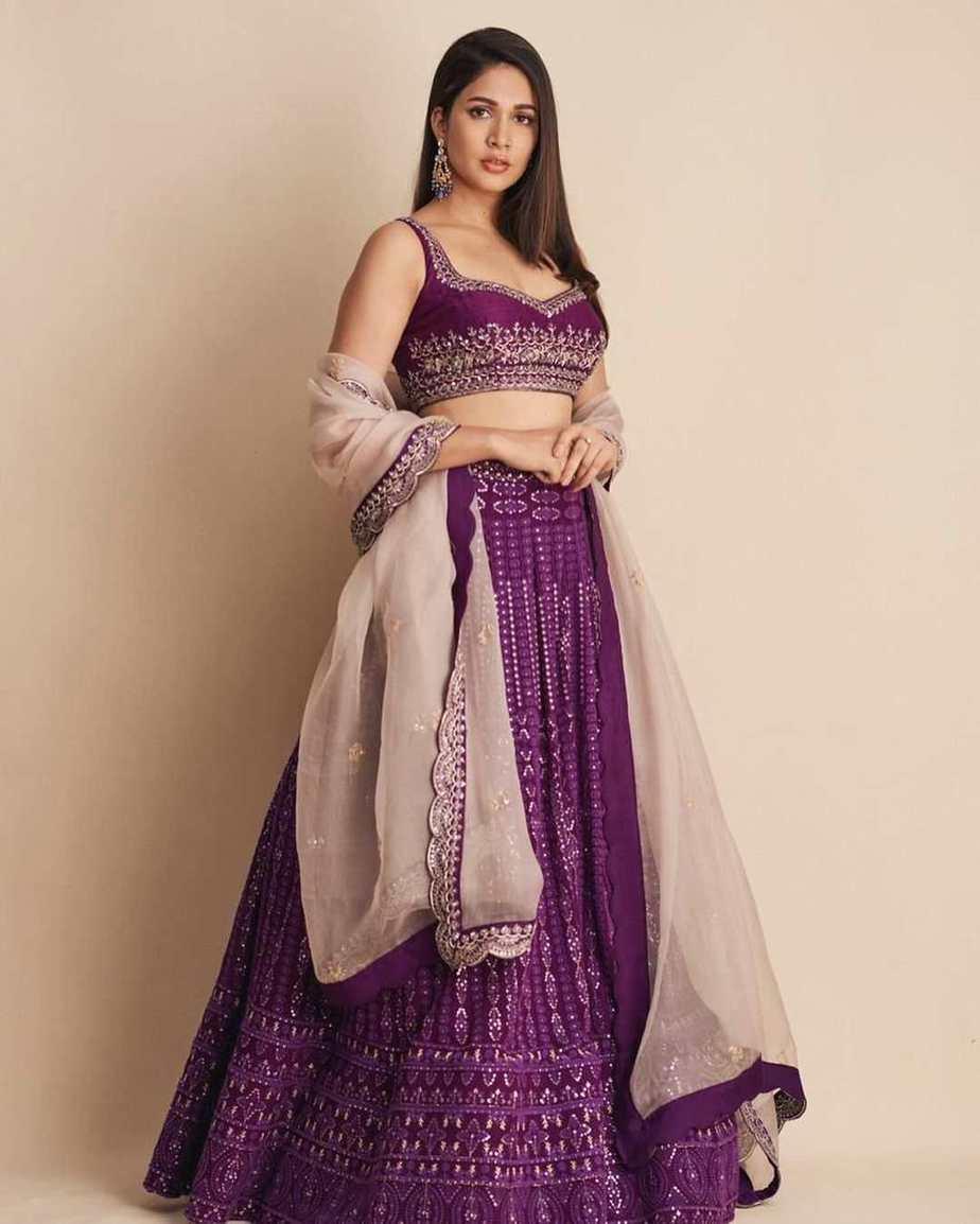 lavanya tripathi purple lehenga from issa designer studio