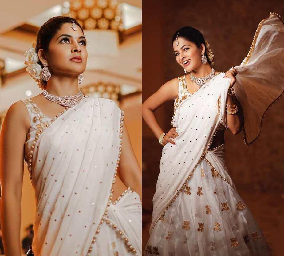 madhumitha sivabalaji in a white gold langa voni