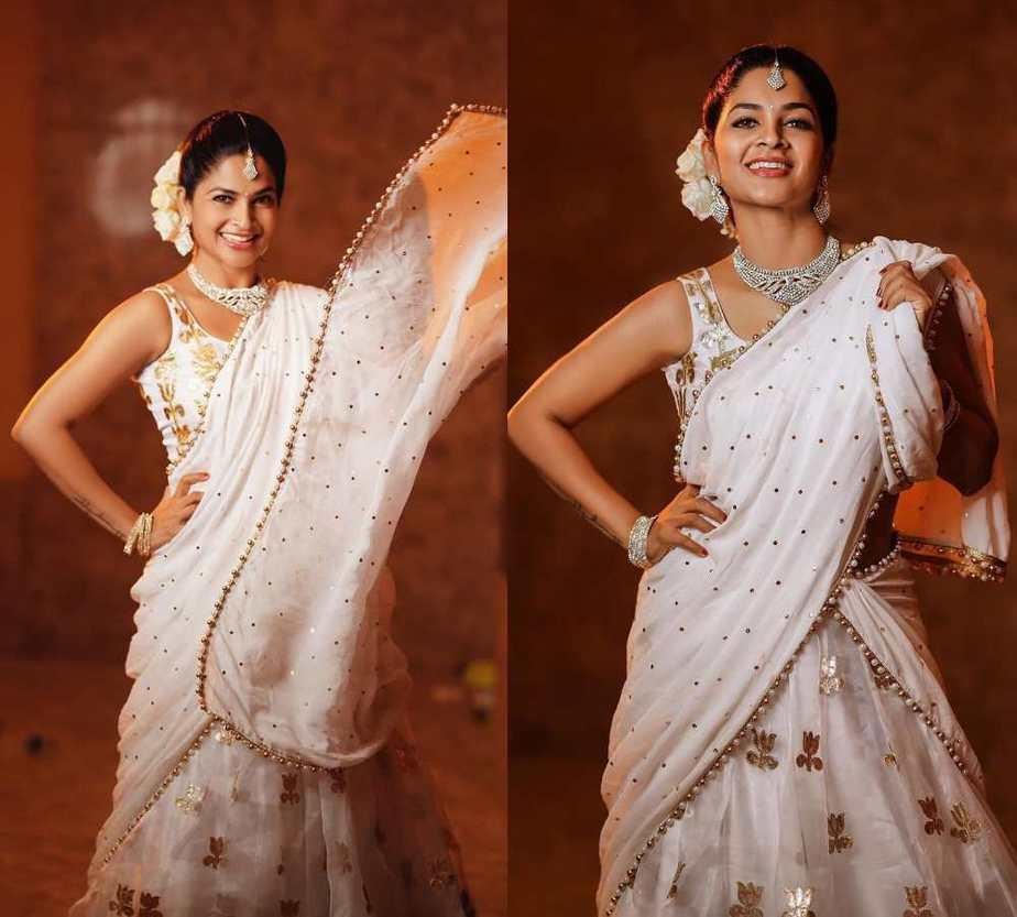 madhumitha sivabalaji in a white langa voni