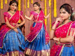 nakshathra nagesh half-saree lehenga look