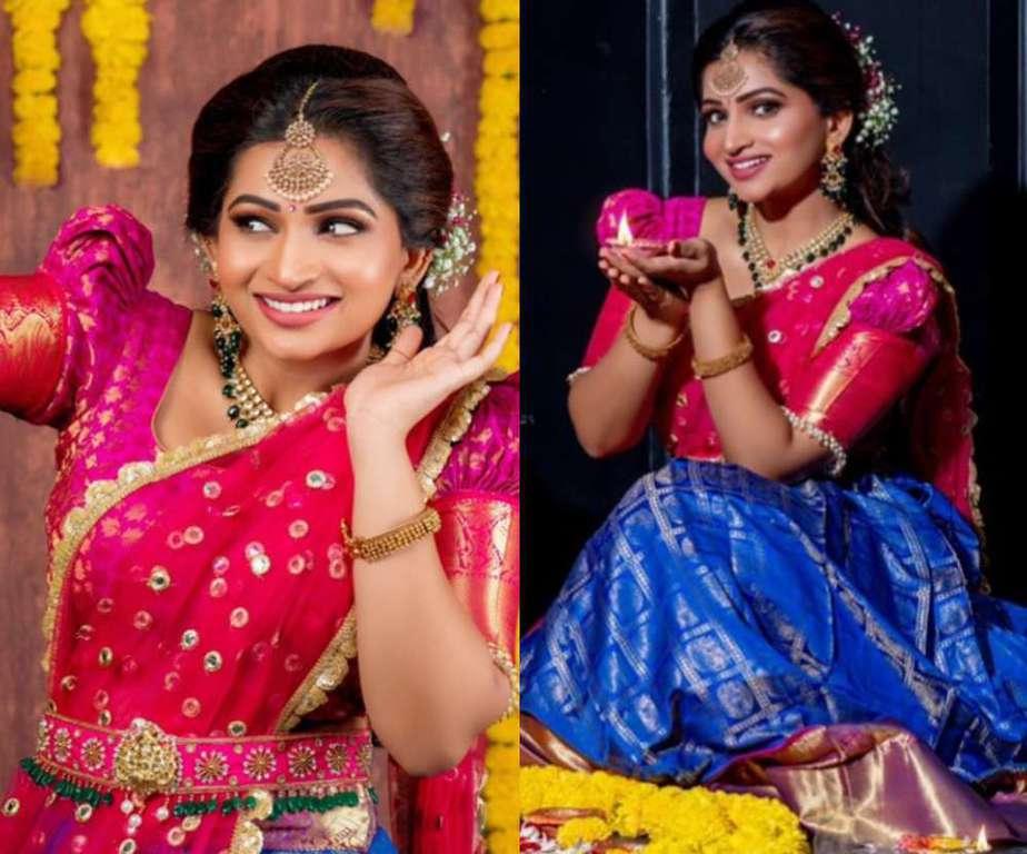 nakshathra nagesh pink blue half-saree lehenga look