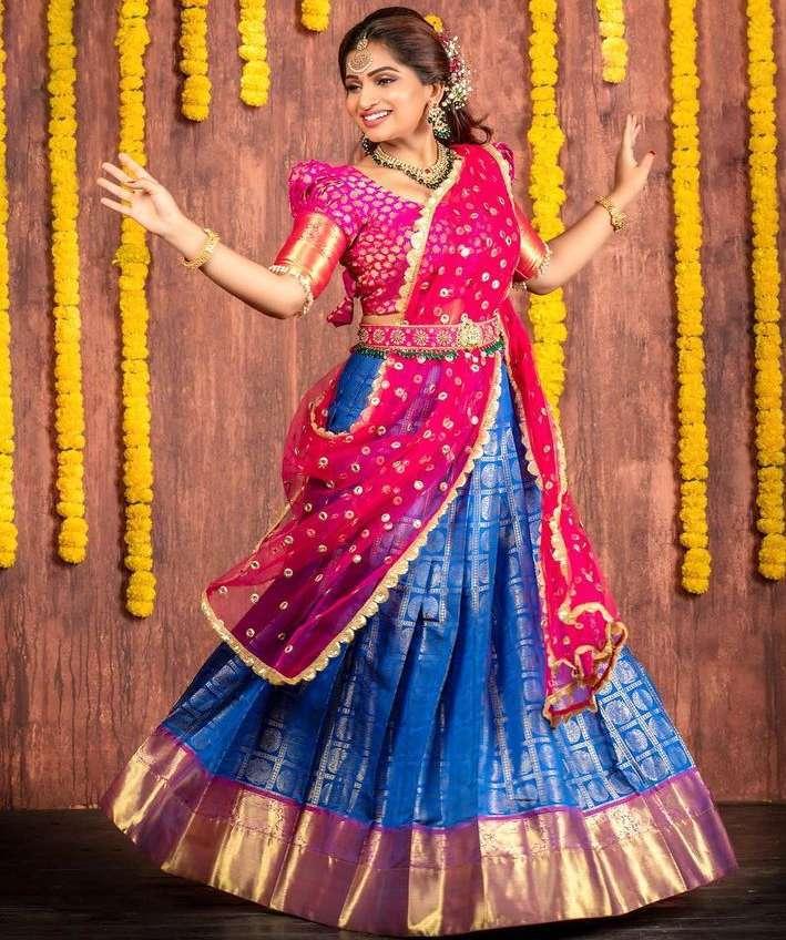nakshatra nagesh in blue pink lehenga karthigai deepam
