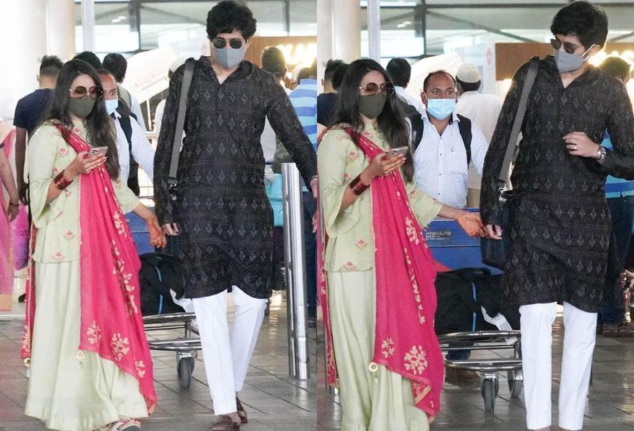 niharika and chaitanya at hyderabad airport