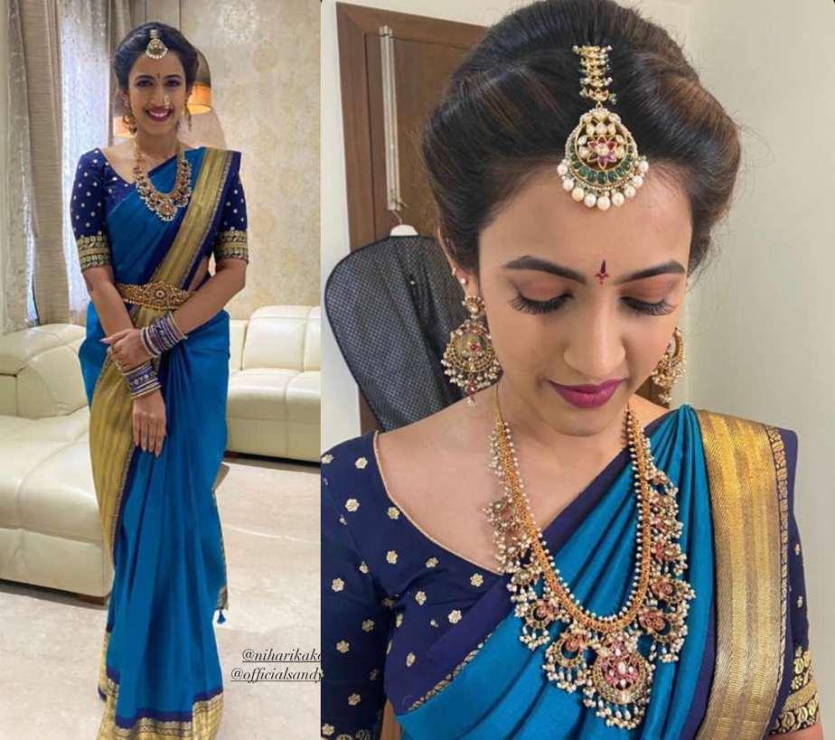 niharika konidela blue saree photos pellikuthuru ceremony (1)
