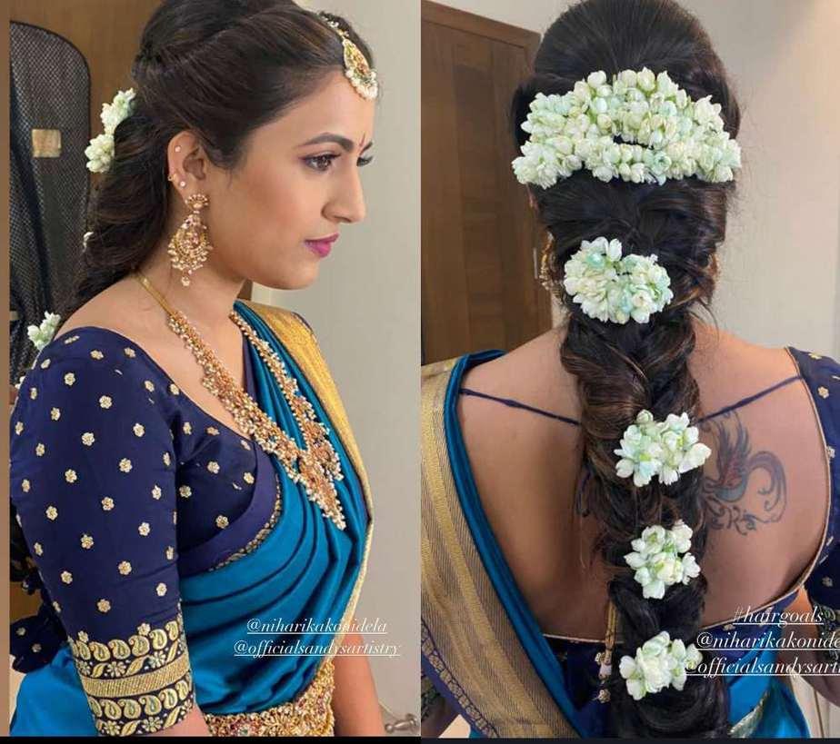 niharika konidela blue saree photos pellikuthuru ceremony