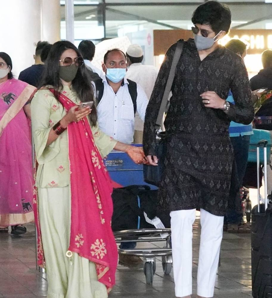 nischay at hyderabad airport back from tirupati