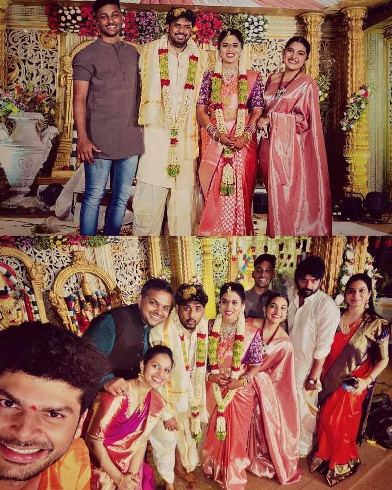 nivetha thomas at vivek athreya wedding in saree