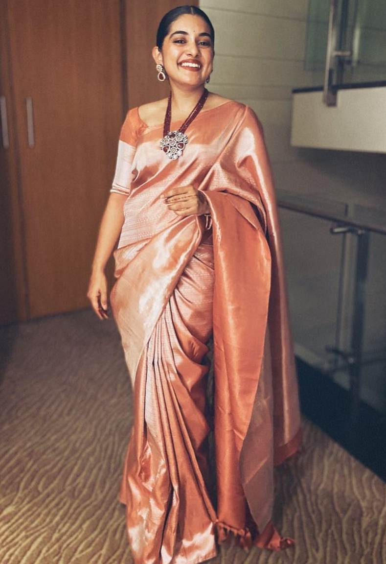 nivetha thomas silk saree look