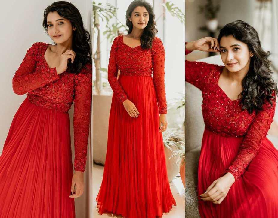 priya bhavani shankar red dress by ashwin thiyagaraj